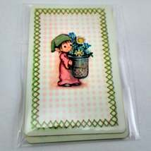 6 Elf Carrying Flowers Playing Cards for Crafting, Re-purpose, Up-cycle, Vintage image 4