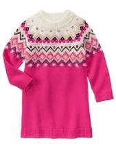 Gymboree Snowflake Fun Fair Isle Sweater Dress 6 Fuschia Black Gold NWT - $15.88