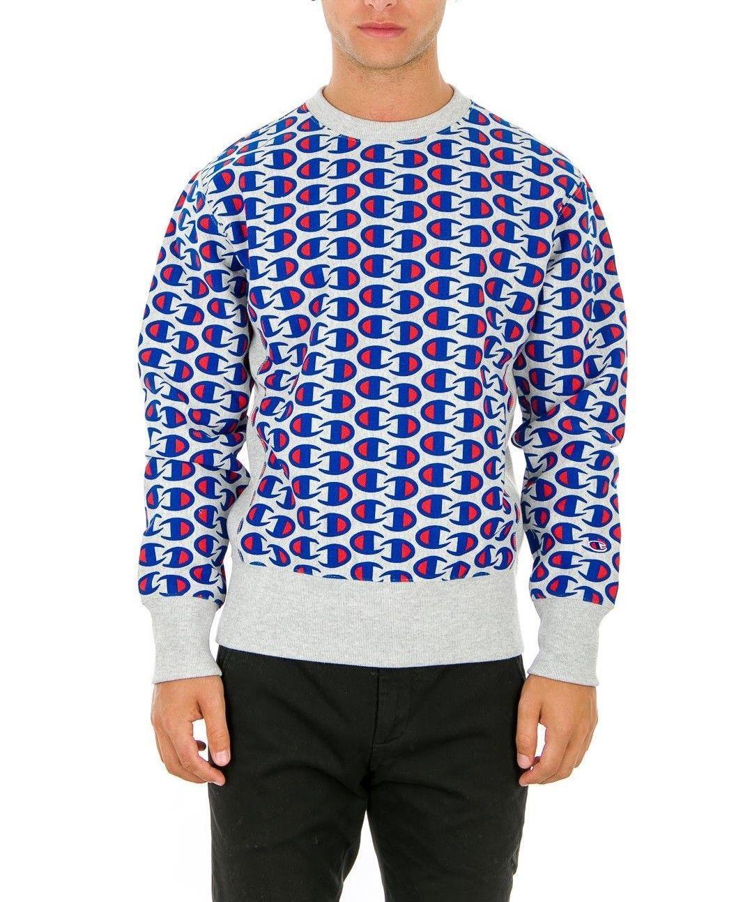 Sale Sweatshirt Champion 212429 Reverse Weave Man Round Neck Grey Blue Fleece Wi