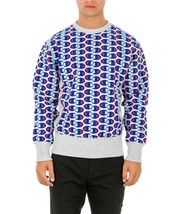 Sale Sweatshirt Champion 212429 Reverse Weave Man Round Neck Grey Blue F... - $88.19