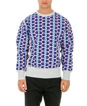 Sale Sweatshirt Champion 212429 Reverse Weave Man Round Neck Grey Blue F... - $88.19