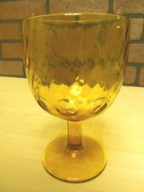 VINTAGE THUMBPRINT GLASS GOBLET, AMBER GLASS WITH SWIRL DESIGN  - $2.99