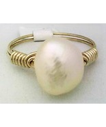 Freshwater Pearl Gemstone Bead Wire Wrap Ring - $10.08
