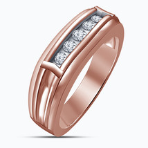 Rose Gold Finish 925 Sterling Silver Mens Wedding Engagement Diamond Rin... - $108.99