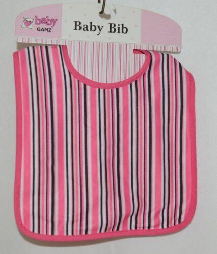 Ganz BG3191 Black White Hot Pink Striped Hook Loop Baby Bib Size Birth Up