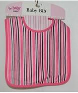 Ganz BG3191 Black White Hot Pink Striped Hook Loop Baby Bib Size Birth Up - $8.00