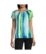 Worthington Short-Sleeve Scoop Neck T-Shirt Sizes PS, PM, PL New Multi F... - $16.99