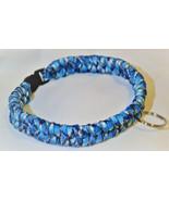 Paracord 550 Dog Collar Blue Pattern Fish Tail Design Black Quick Releas... - $15.00