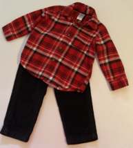Carter's, Baby Boy Clothes, SZ 12 MO, Red Plaid Flannel Shirt with Black Cords - $14.00