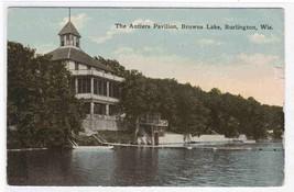 Antlers Pavilion Brown Lake Burlington WI 1924 postcard - $4.46