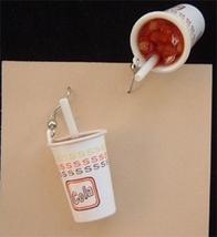 ICY SODA POP EARRINGS-Vintage Cola Cup Drink Charm Funky Jewelry - $6.97