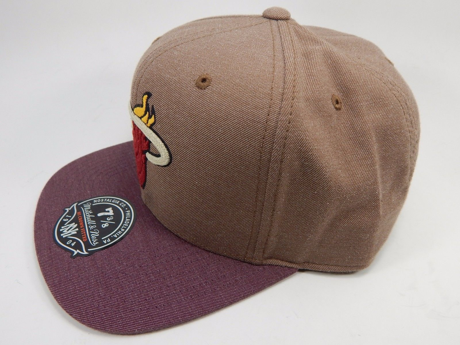 Miami Heat Mitchell & Ness Size 7 3/8 Crown Fitted NBA Cap Hat Purple Brown