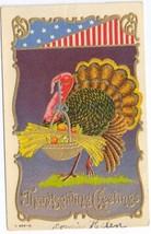 Patriotic Thanksgiving Turkey Basket of Plenty 1908 Embossed Gold Gilt P... - $3.99