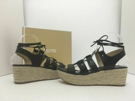 Michael Kors Sofia Black Women's Platform Wedge Heels Sandals Size 38.5 / US 8 M - $44.21