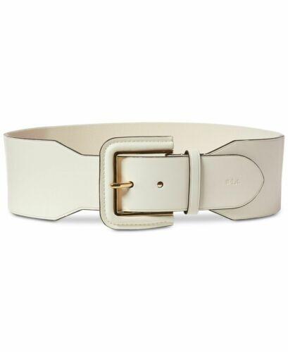 Lauren by Ralph Lauren Wide Covered-Buckle Stretch Belt (Natural, S)