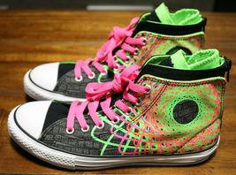 Converse Chuck Taylor All Star Zipback 649963C Black Pink Green Shoes Girls Sz 5 image 3