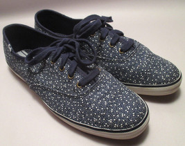 Keds Womens size 8.5 M Navy Blue w/ White Dots Canvas Sneakers VGUC - $19.78