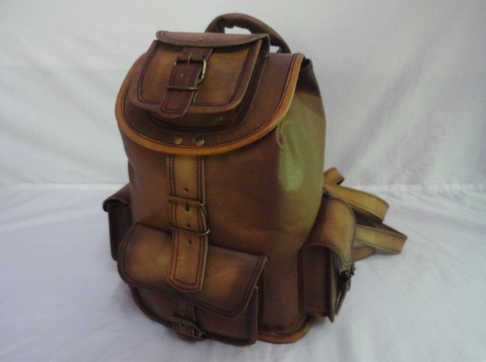 "13"" High Vintage Leather Rucksack Handmade Backpack Shoulder Bag Book Bag image 2"