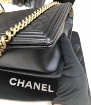 AUTH CHANEL BLACK QUILTED LAMBSKIN LARGE BOY FLAP BAG GHW image 7