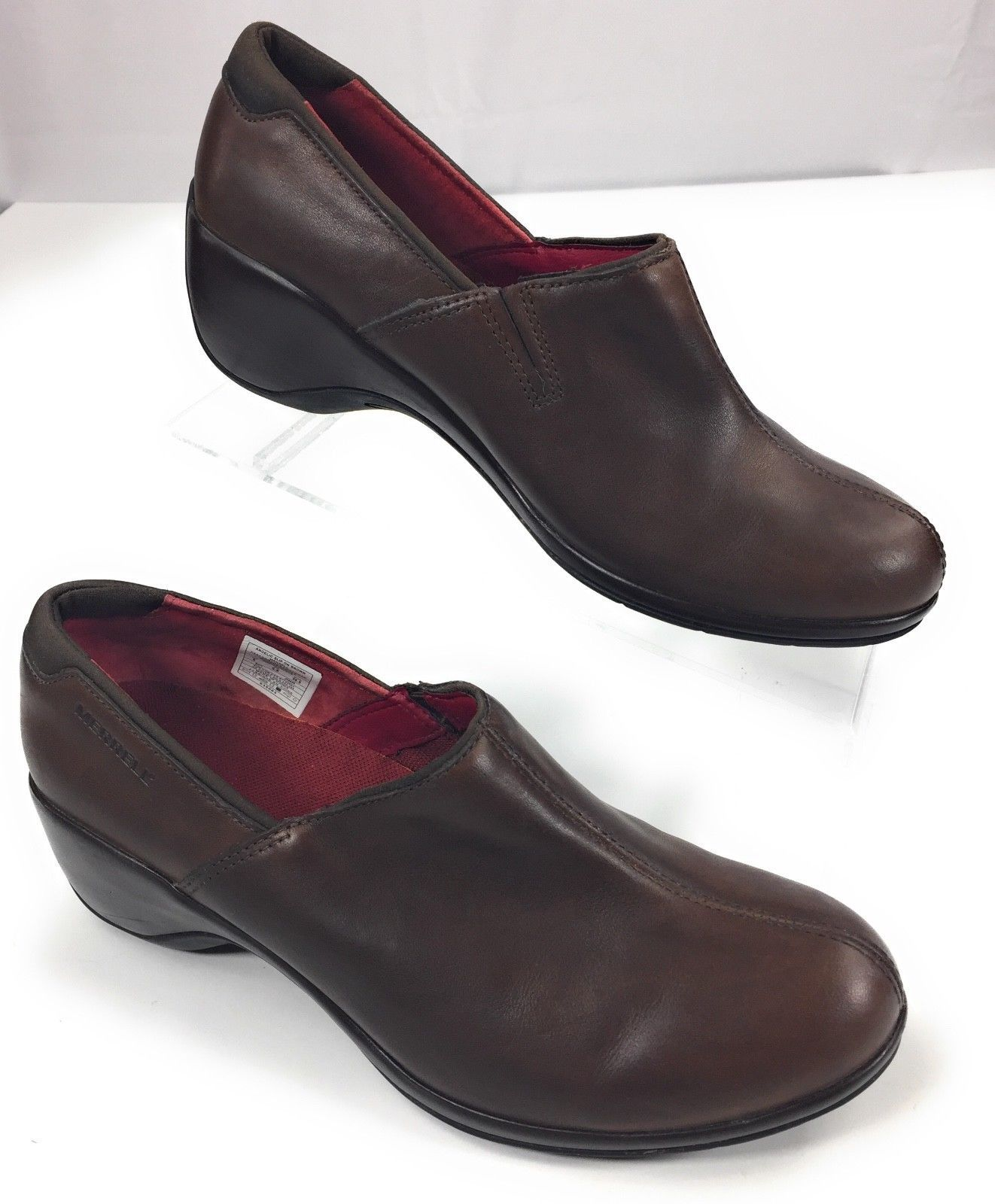 Merrell Angelic Slip On Brown Leather Loafer Wedge Shoes Women's 8
