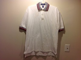 Men's Short Sleeve White Polo Shirt w Black White Checkered Design Sz XL