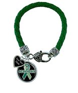 Holly Road Scoliosis Green Leather Bracelet Jewelry Choose Your Text - $19.79