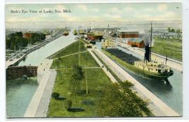 Great Lakes Freighter Steamer Locks Soo Michigan 1910c postcard - $6.93
