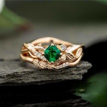 Fashion 14k Yellow Gold Finish 1.09 Princess Cut Emerald Women Wedding Ring - $87.57