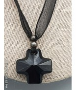 Black crystal cross with swarovski crystal Elements necklace - $6.37