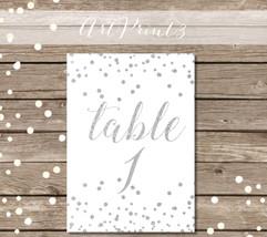 Printable Wedding Table Numbers 1-30, Printable Silver Table Numbers, Si... - $10.00