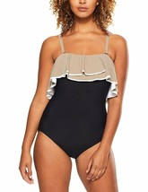 Coco Reef BLACK Paradiso Agate Ruffle Bandeau One-Piece Swimsuit, US 10/34C - $65.34