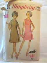 """Simplicity 8159 Vtg 1969 Women's shift dress SZ 16 1/2 Bust 37"""" - $10.00"""
