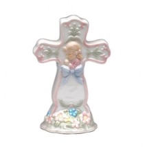 Cross Girl With Blue Ribbon - $10.69