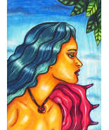 rose fairy art original art print nude woman portrait face modern fantas... - $9.99