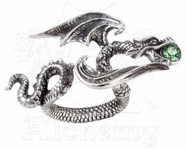 Starchaser Flying Dragon Green Crystal Ring R190 Alchemy Gothic Hand Spanning - $31.06