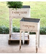 Country FARM FRESH WHITE GARDEN STANDS Farmhouse Rustic Flower Tubs Plan... - £149.40 GBP