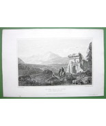 SICILY Italy On Road to Palco at Monreale - 1823 Antique Print by Mjr Light - $16.83