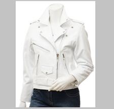 QASTAN Women's New Stylish Durable White Biker Cow Leather Jacket QWJ29B - $149.00+