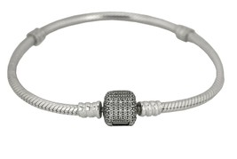 "Ladies Pandora Sterling Silver Signature Clasp Clear CZ 6.50"" Bracelet - $72.95"