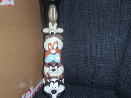 Extremely Rare! Warner Bros Looney Tunes Totem Candle Stick Figurine Sta... - $127.49
