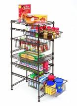 Kitchen Basket Storage Shelves Organizer Bins Stackable Wire Cabinet Rac... - $36.11