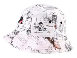 Staple New York Ny Tauben Sketch Weiß 100% Baumwolle Eimer 1504C2922 Hut Nwt