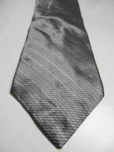 Bill Blass Modern Gray Geometric Print Silk Necktie - $6.23