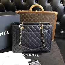 100% AUTHENTIC CHANEL CAVIAR GST GRAND SHOPPING TOTE BAG BLACK GHW image 2