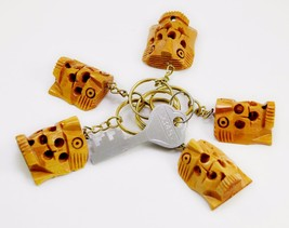 A Set of 5 Hand Carved Wooden Owl Key Ring,keychain,wood Key Holder Keychain - $9.99