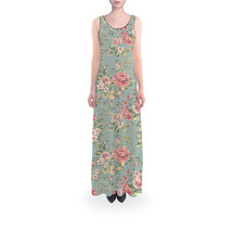 Pastel Floral Wallpaper Flared Maxi Dress - $889,26 MXN+