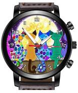 Cats Gazing Full Moon art colorful Unique Wrist Watch FAST UK - $45.00