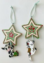 2 Western Wood Christmas Ornaments Horse & Cow Hanging on Stars Humorous... - $19.34