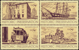 1971 8c Historic Preservation, Block of 4 Scott 1440-43 Mint F/VF NH - $1.28