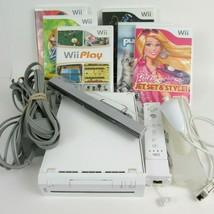Nintendo Wii Console Bundle w Motion Controller 6 Games Dance Dance Barb... - $46.74